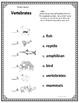 Vertebrates Vocabulary Assessment