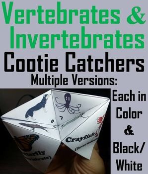 Vertebrate and Invertebrate Animals Activity/ Foldable (Scoot Game/ Quiz)