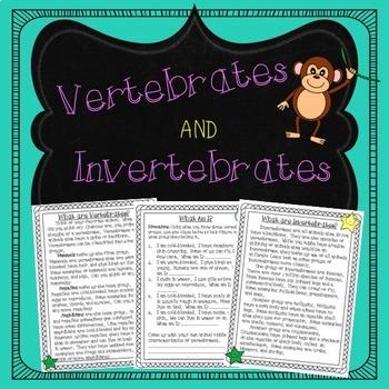Vertebrates and Invertebrates Reading Comprehension and Activities