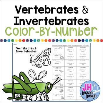 Vertebrates and Invertebrates Color-By-Number