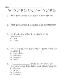 graphic regarding Free Printable Worksheets on Vertebrates and Invertebrates titled Vertebrates And Invertebrates Quiz Worksheets Coaching
