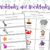 Vertebrates and Invertebrates Worksheets