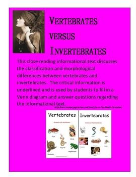 Vertebrates versus Invertebrates Close Reading with Venn diagram and questions