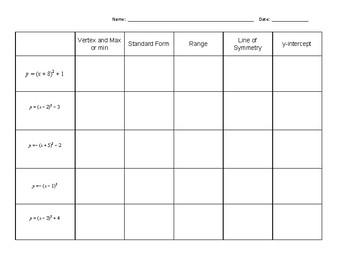 Vertex Form Bingo!