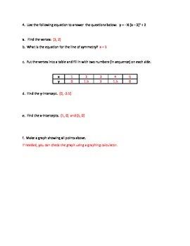 Vertex Form Graphing - Quadratic Equations - Supplement to Prentice Hall Algebra