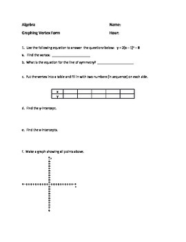 Vertex Form Graphing - Quadratic Equations - Supplement to