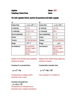 Vertex Form Graphing - Quadratic Functions - Prentice Hall Supplement