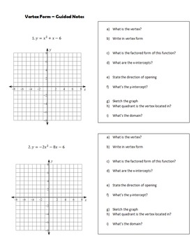 Vertex Form Math III Guided Notes
