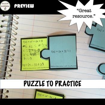Vertex Form And Standard Form Of Quadratics Interactive Notebook For