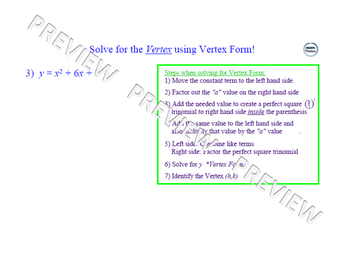Vertex Form of Quadratic Equations