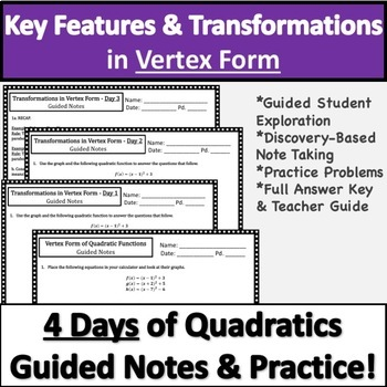 Vertex Form of Quadratic Functions Guided Notes & Practice!