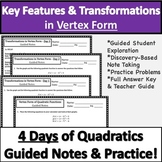 Vertex Form of Quadratic Functions Notes & Practice!