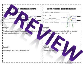 Vertex Form of Quadratic Functions - Notes