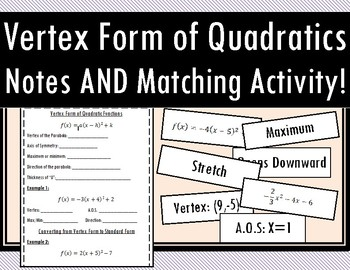 Vertex Form of Quadratic Functions - Notes AND Activity!