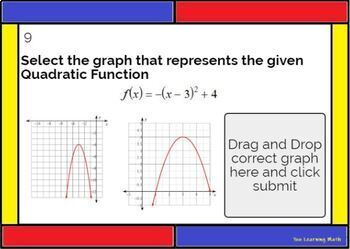 Vertex Form of a Quadratic Function - Graphing and Writing: Digital BOOM Cards