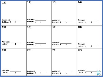 Vertex, Standard, Factored Form of Quadratics Walk Around or Gallery Walk Riddle