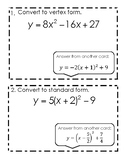 Vertex and Standard Form Quadratics Stations Activity