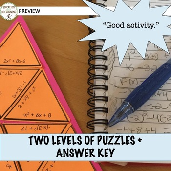 Vertex and  Standard Form of Quadratic Functions Puzzle Activity