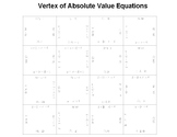 Vertex of Absolute Value Equation Fun Square Puzzle