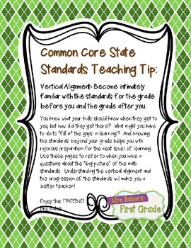Vertical Alignment Common Core State Standards {First Grade Math}