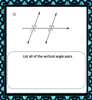 Vertical Angle Task Cards