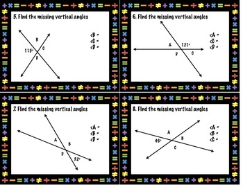 Vertical Angles Discovery Activity, Graphic Organizer and Task Cards