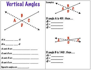 Vertical Angles Discovery Activity and Graphic Organizer 7.G.5, 8.G.5