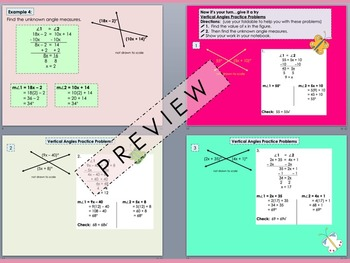 Vertical Angles Foldable PowerPoint for Interactive Notebooks