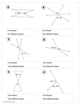 vertical angles and linear pairs partner worksheet by mrs castro 39 s class. Black Bedroom Furniture Sets. Home Design Ideas