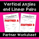 Vertical Angles and Linear Pairs Activity: Partner Worksheet