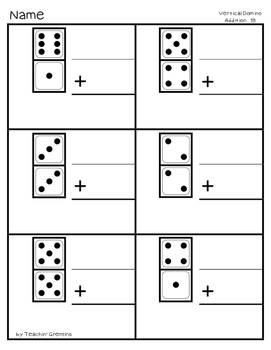 Vertical Domino Addition Practice 20 Worksheets + 20 ...