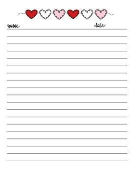 Vertical Heart Writing Paper