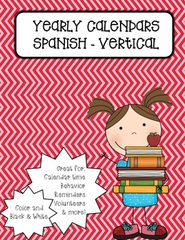 Vertical Monthly Calendars - Spanish