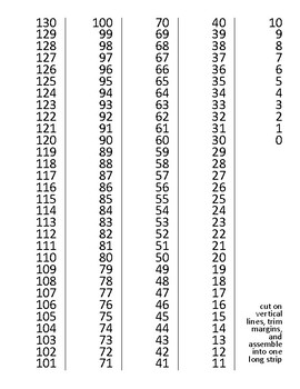 Vertical Number Chart 0-130 ~ See the Pattern in our Number System!