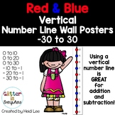 Vertical Number Line Ladder Wall Posters   Integers -30 to 30   Red and Blue