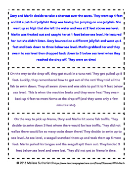 Vertical Number Line Positive and Negative Story