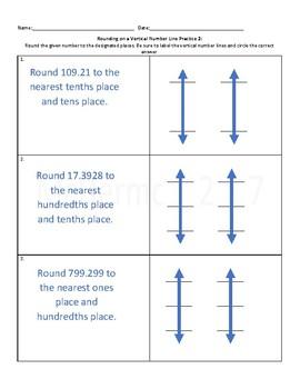 Vertical Number Line Rounding Practice 2