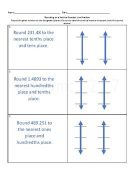 Vertical Number Line Rounding Practice