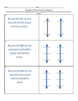 Vertical Number Line Rounding Practice Worksheet 4