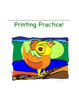 Vertical Printing Practice Book Cover/Sticker