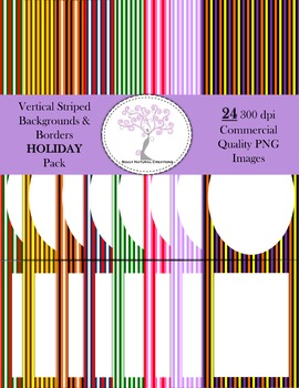 Vertical Striped Backgrounds and Borders HOLIDAY Pack