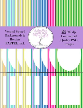 Vertical Striped Backgrounds and Borders PASTEL Pack