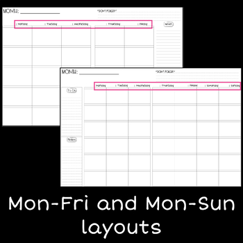 Vertical Weekly Calendar for Digital Planner (5 and 6 Box Layouts |  GoodNotes)