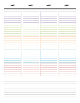 Vertical Weekly Lesson Planner