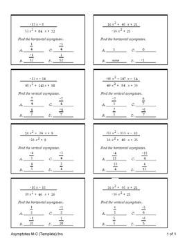 Vertical and Horizontal Asymptotes (Quiz)
