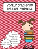 Vertical Monthly Calendars - English