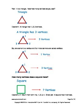 Vertices Edges and Faces (lesson and a worksheet)