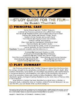 Vertigo: Study Guide for Hitchcock's Film (22 Pages, Answer Keys Included, $15)