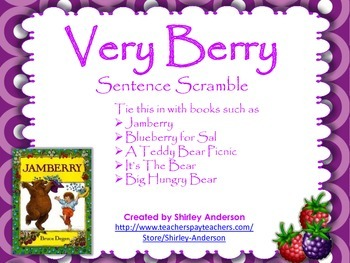 Very Berry Sentence Scramble (Use with Jamberry, Blueberries for Sal)