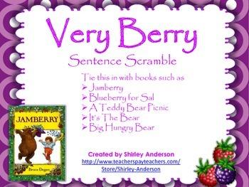 Very Berry Sentence Scramble (Use with Jamberry, Blueberri